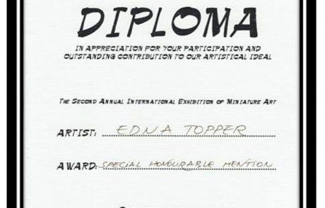פרס ציון לשבח לתערוכה בינלאומית מיניאטורות – שבדיה
